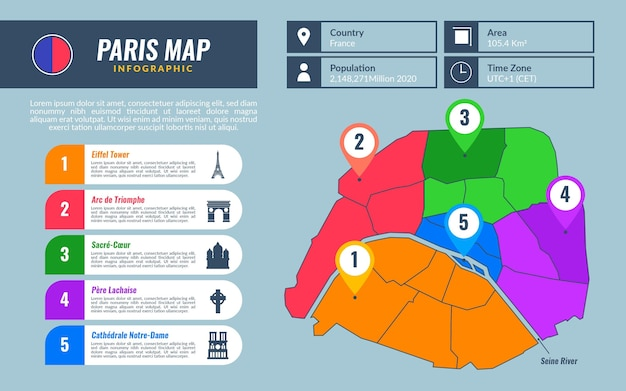 Flache pariser karteninfografiken mit sehenswürdigkeiten