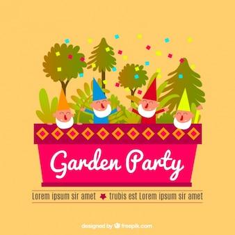 Flache party-einladung mit bäumen und kobolde