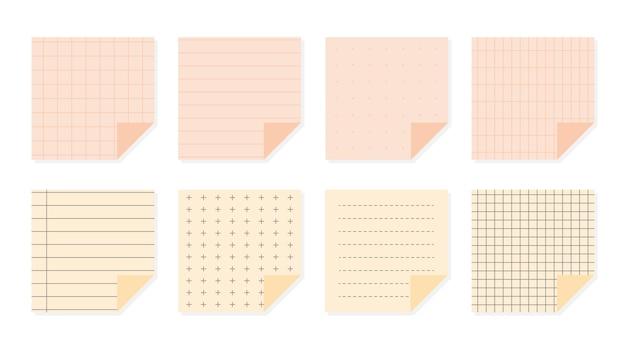 Flache pastellpapiernotizen stellen quadratische vorlagenblätter mit verschiedenen linearen kreuzpunkt- und gittermustern ein schulelemente-notizbuch-papierhefteinband lokalisiert auf weißer vektorillustration