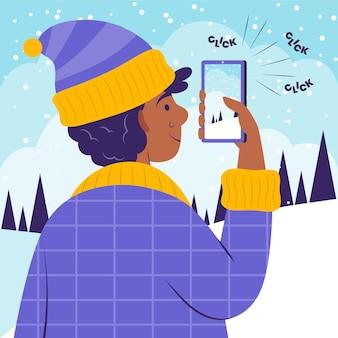 Flache person, die fotos mit smartphone macht