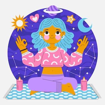 Flache person, die friedlich meditiert