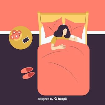 Flache person, die im bett schläft