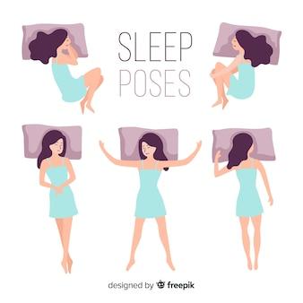 Flache person in verschiedenen schlafpositionen