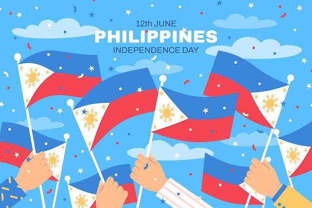 Flache philippinische unabhängigkeitstagillustration Premium Vektoren