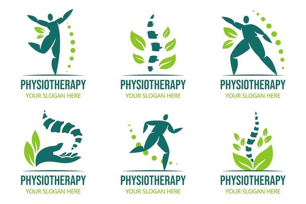 Flache physiotherapie-logo-kollektion
