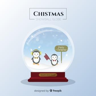 Flache pinguine weihnachtsschneeball