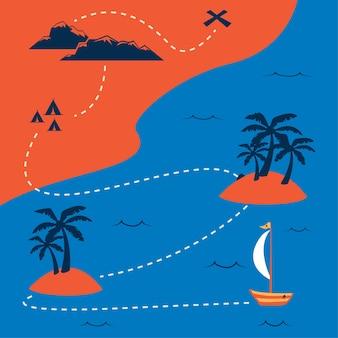 Flache piratenschatzkarte mit einzigartiger vintager sommerfarbe