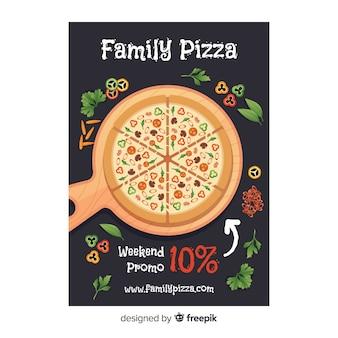 Flache pizza flyer vorlage