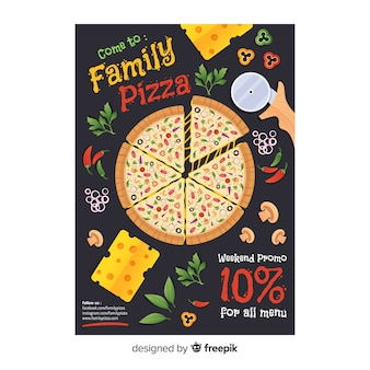Flache pizza flyer vorlage