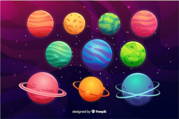Flache planetensammlung im weltraum