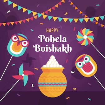 Flache pohela boishakh illustration