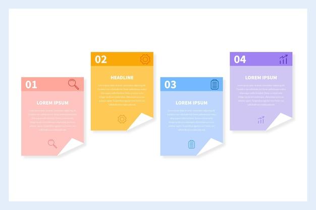 Flache post-its-boards-infografiken