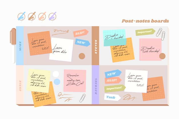 Flache post-its-boards-infografiken