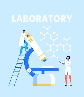 Flache präsentation für ein modernes wissenschaftliches labor
