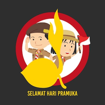 Flache pramuka-tagesillustration
