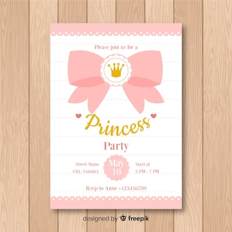 Flache prinzessin party einladung