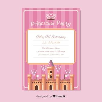 Flache prinzessin party einladungsvorlage
