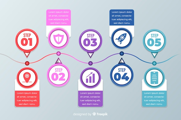 Flache professionelle infografik schritte