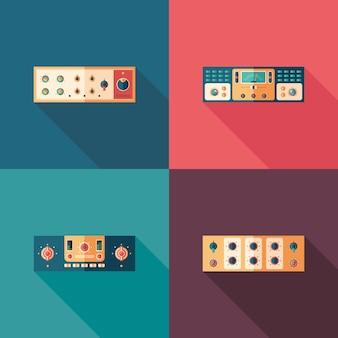Flache quadratische ikonen der audiokompressoren. stellen sie 4 ein