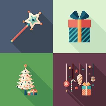 Flache quadratische ikonen der feier der frohen weihnachten eingestellt.