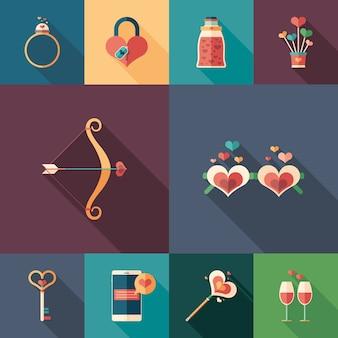 Flache quadratische ikonen der liebe und der gefühle eingestellt.