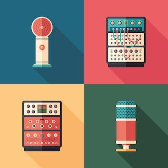 Flache quadratische ikonen der tonstudioausrüstung. set 1 Premium Vektoren