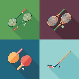 Flache quadratische ikonen des teamsports mit langen schatten.
