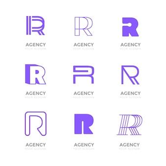 Flache r logo sammlung