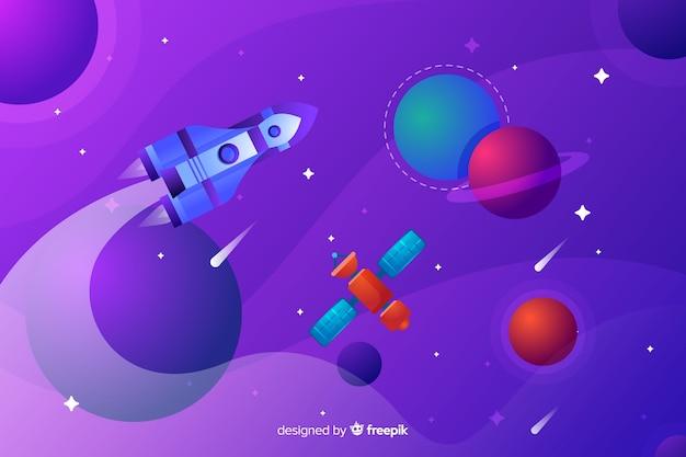 Flache rakete, die durch die galaxie reist