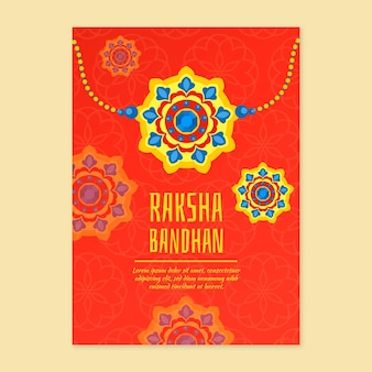 Flache raksha bandhan grußkarte