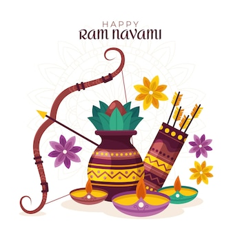 Flache ram navami illustration