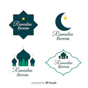 Flache ramadan-abzeichen-sammlung