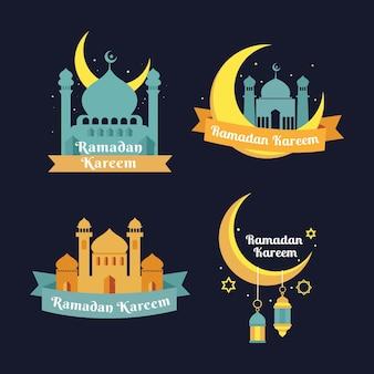 Flache ramadan-abzeichensammlung