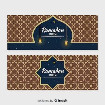 Flache ramadan banner vorlage
