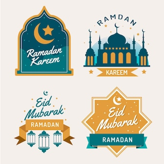 Flache ramadan-etikettensammlung