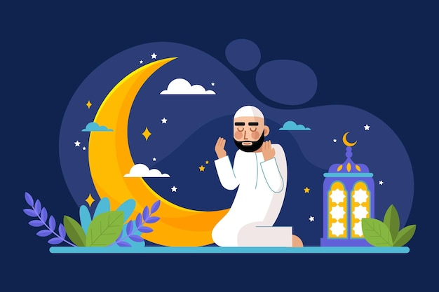 Flache ramadan-konzeptillustration