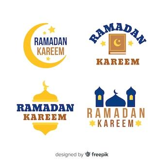Flache ramadan-labelsammlung