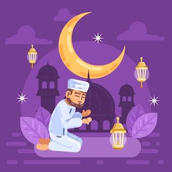 Flache ramadanillustration
