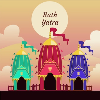Flache rath yatra feier illustration