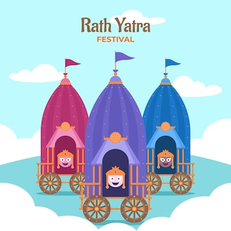 Flache rath yatra illustration