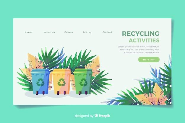 Flache recycling-landingpage-vorlage