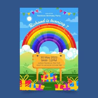 Flache regenbogengeburtstagseinladungsschablone