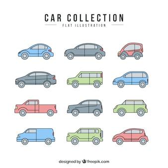Flache reihe von dekorativen autos mit verschiedenen designs