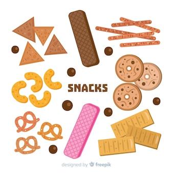 Flache reihe von snacks