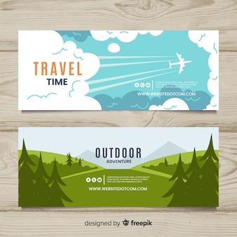 Flache reise-banner-pack
