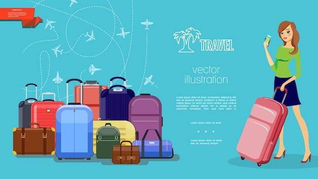 Flache reise bunte schablone mit gepäckgepäck hübsche frau, die tasche und zahlungskarte fliegende flugzeuge auf blau hält