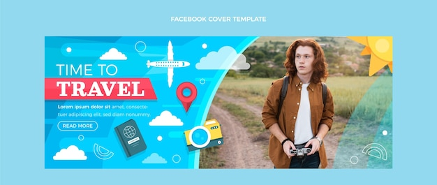 Flache reise-facebook-cover-vorlage