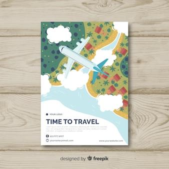 Flache reise-flyer-vorlage