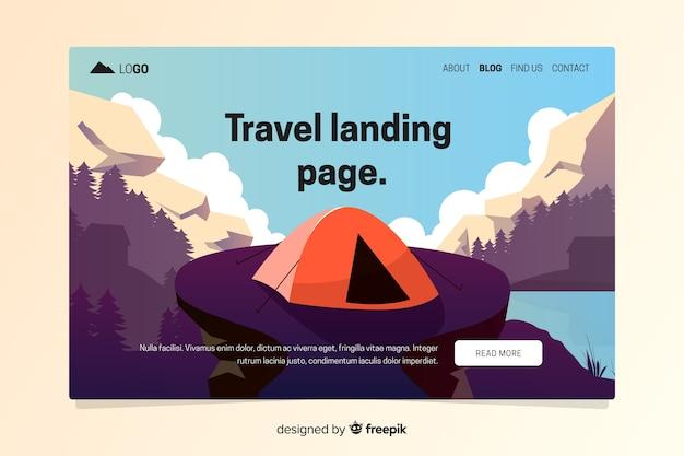 Flache reise-landingpage-vorlage