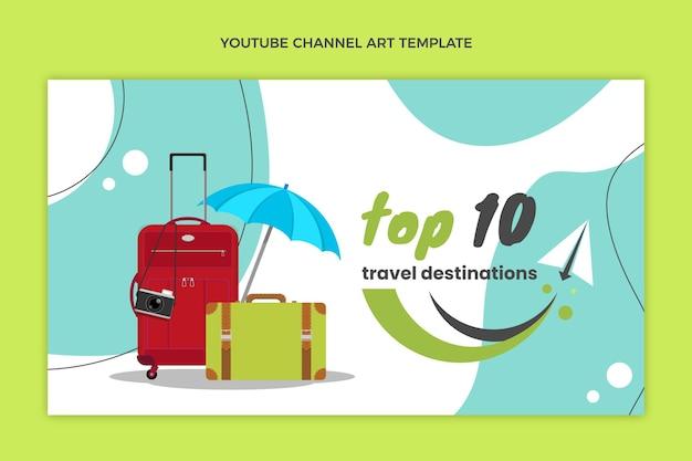 Flache reise-youtube-thumbnail-vorlage